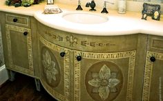 Beautiful patterend bathroom cabinets
