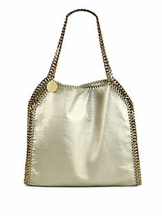 Stella McCartney Falabella Chain-Trimmed Metallic Shoulder Bag- MY go to summer bag