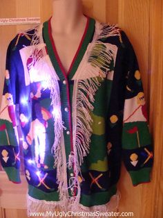 Tacky Ugly Christmas Sweater Golf Theme with Lights and Fringe (g86)