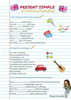 Present Simple Interactive worksheet English Grammar For Kids, Basic Grammar, English Worksheets For Kids, English Lessons For Kids, Teaching Grammar, English Activities, Grammar Lessons, Teaching English, Learn English