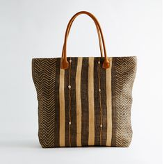 Stripes and Shells Kuba Cloth Tote by Global Girls