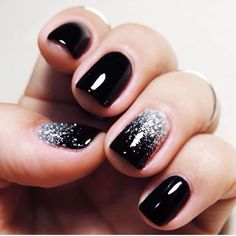 black silver glitter nails