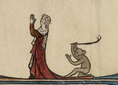 I think there's something on your dress, lady. (source: Murderer. Ms. 46, fol. 92, 13th c. J. Paul Getty Museum)