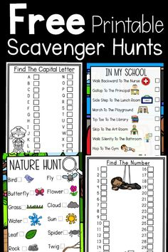 These printables are a great way to get kids moving and learning at the same time. Alphabet, Number, Nature, and School Scavenger Hunts! Kindergarten Scavenger Hunt, Toddler Scavenger Hunt, Summer Scavenger Hunts, Classroom Scavenger Hunt, Outdoor Scavenger Hunts, Nature Scavenger Hunts, In Kindergarten, Classroom Rules, Relay Games For Kids