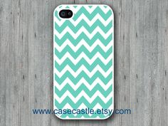 Mint Chevron on White Iphone 4 case, Iphone 4S case, Plastic hard case, Waterproof Ipone Case on Etsy, $2.99
