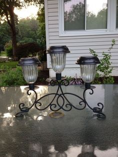 Solar Lights for your Garden Solar light table sconce, bright lights for a patio table, made with a sconce bought at a home decor store & three solar lights. Bright & a great lighting feature, best thing I have made, I love it!