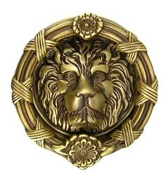 Ornate lion door knocker -- antique brass finish. Hand cast. $84.99