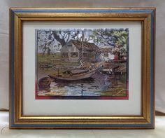 "$40 2019 Lionel Barrymore ""Point Pleasant"" Decor Art w. Antique Gold Finish & Blue Frame | #1991863507 French Artwork, Vintage Art Prints, Antique Gold, Art Decor, Scenery, Art Pieces, Antiques, Frame, Blue"