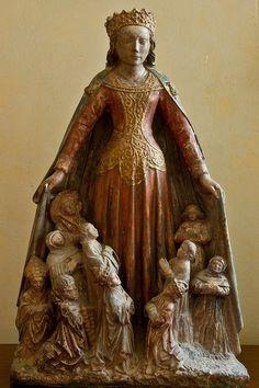 """María como """"Madre de Misericordia"""", anónimo, siglo XIV, catedral de San Lázaro, Autun, Francia."""