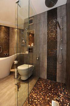 Gahhhh. Holy shower floor tile.love the decorative wall strip