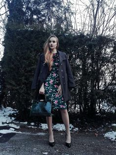Get this look: http://lb.nu/look/8622839  More looks by Larissa: http://lb.nu/larizoid  Items in this look:  Sheinside Velvet Floral Dress, Grey Coat, Dark Green Leather Bag, Dark Green Leather Heels   #chic #classic #elegant #classy