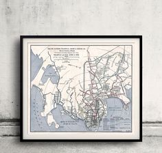 Map of Rio de Janeiro Tramway - 1906 - FREE SHIPPING - SKU 0295 by PaulMaps on Etsy