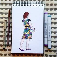 Stitch Fix London Times Bridie Knit Dress and Cole Haan leather flats done with Copic Markers by Alexa's Illustrations. alexasillustrations