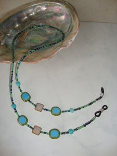 Turquoise Czech Glass Beaded Eyeglass Holder by CoastalCreationz