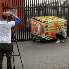 Lisesolvang shared more photos of the #yarnbombing #crochet #art she did for a Monster Headphones commercial