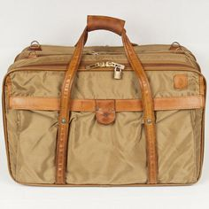 HARTMANN TAN NYLON 3 COMPARTMENT SUITCASE CARRY ON SHOULDER BAG BELTING LEATHER