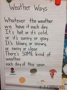 Weather Five For Friday January 17 Weather Kindergarten, Kindergarten Poems, Preschool Poems, Preschool Weather, Kids Poems, Weather Activities, Preschool Science, Preschool Lessons, Elementary Science