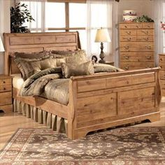 nebraska furniture mart u2013 ashley rustic pine king sleigh bed