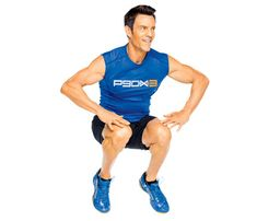 P90X: Slater Squat. Crouch, place hands on floor, jump feet back into a plank and lower body to floor. Press up to plank, hop feet to hands, do a truck jump, slapping knees (as shown). Go for 1 minute. #SELFmagazine