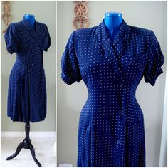Vintage Navy Blue Dress White Polka Dots Midi by Flourisheshome