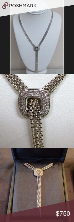 "David Yurman Lariat Diamond Tassel Necklace David Yurman Lariat Waterfall Diamond Tassel 3-Strand Box Chain Necklace.             EXCELLENT CONDITION                                                 OVER 1 CT+ IN DIAMONDS -16"" LONG  -                                                TASSEL HANGS 2 1/2 INCHES.                               SEE MY OTHER LISTINGS FOR MATCHING EARRINGS David Yurman Jewelry Necklaces"