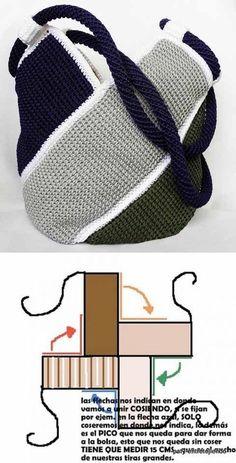 Bolso a crochet molino de viento - www.e - Crochet and Knitting Patterns , Bolso a crochet molino de viento - www.e - Crochet and Knitting Patterns Tunisian Crochet, Knit Or Crochet, Crochet Crafts, Crochet Stitches, Crochet Handbags, Crochet Purses, Crochet Bags, Free Crochet Bag, Knitting Patterns