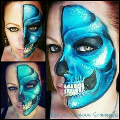 Blue half skull inspired by Nick Wolfe facepaint