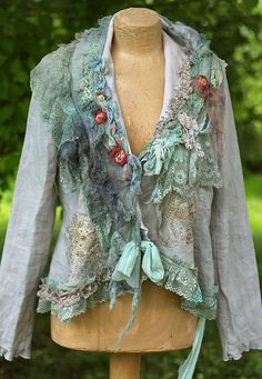 neobaroque jacket -bohemian romantic jacket, linen jacket,altered couture, embroidered and beaded details,old laces Mode Baroque, Boho Fashion, Fashion Outfits, Fashion Trends, Pretty Outfits, Cool Outfits, Festival Outfits, Festival Clothing, Altered Couture