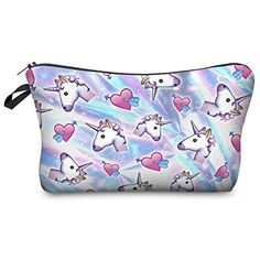 Yotina makeup bag Women Cosmetic Bag With Multicolor Pattern Printing neceser toiletry bag For Travel organizer make up bag Makeup Travel Case, Travel Cosmetic Bags, Cosmetic Pouch, Travel Bag, Animal Print Clutches, Mode 3d, Unicorn Fashion, Unicorn Makeup, Makeup Pouch