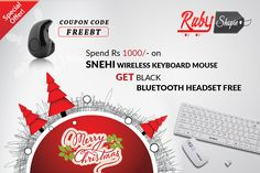 Special offer guys on #Christmas !!! Buy #Wireless_keyboard_Mouse upto only Rs.1000 using coupon code FreeBT and get    #Black_Bluetooth_Headset Free