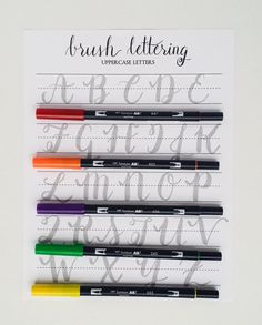 Brush Lettering Practice Worksheets | Uppercase Letters | Brush Lettering Practice with Sample Letters A through Z by StunningScript on Etsy
