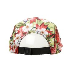 Empyre Maui Wowie Red Floral 5 Panel Hat (17.415 CLP) ❤ liked on Polyvore featuring accessories, hats, headwear, snapback, 5 panel cap, embroidered hats, red hat, floral print hat and snap back hats