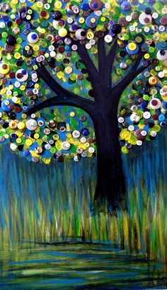 Button tree 0005 Painting  - Button tree 0005 Fine Art Print