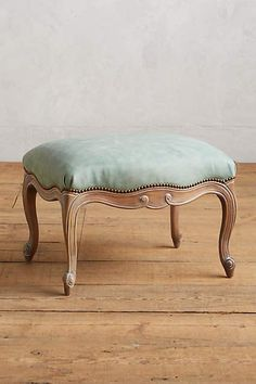 Light Blue Leather Tirelle Ottoman