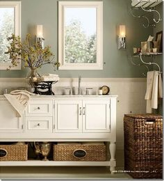 This paint color would work well in my bathroom with cream tile.  Pottery barn bathroom