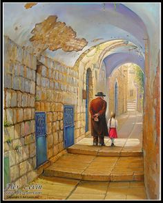 Old streets of Zfat  Oil on canvas by Alex Levin