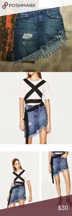 Zara Asymmetrical Denim Skirt Brand new with tags.  Size L.  Has inner attached knit black short. Zara Skirts Asymmetrical