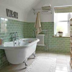 Green tiles, white walls, white floor