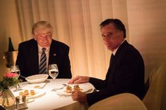 NEW YORK, NY - NOVEMBER 29: (L to R) President-elect Donald Trump and Mitt Romney dine at Jean Georges restaurant, November 29, 2016 in New York City. President-elect Donald Trump and his transition team are in the process of filling cabinet and other high level positions for the new administration. (Photo by Drew Angerer/Getty Images) ***BESTPIX***