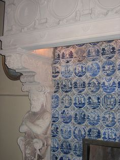♥ ~ ♥ Blue and White ♥ ~ ♥ Delft tiles on fireplace Delft Tiles, Mosaic Tiles, Blue Tiles, Hardwood Floor Colors, Light Hardwood Floors, Blue And White China, Blue China, Floor Stain, Tiled Fireplace
