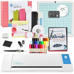 Silhouette Cameo II Starter Bundle with The Ultimate Silhouette Guide Book, Vinyl Kit, and Sketch Pen Kit