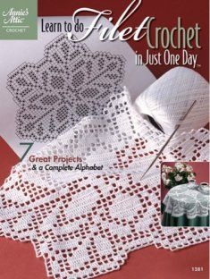 Follow the easy step-by-step instructions in this book to create lovely, lacy filet crochet doilies, runners and more.  7 great projects plus a complete alphabet are included in this pattern book.