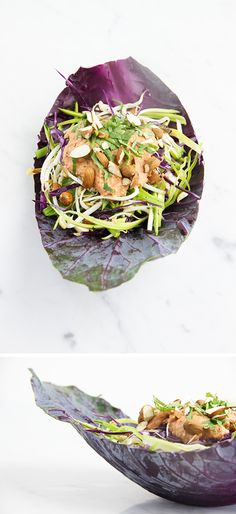 anti-cancer eastern dragon salad + tangy almond, ginger, and kaffir lime sauce