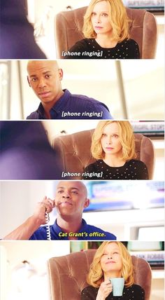 """Cat Grant's office"" - James and Cat #Supergirl ((The greatest fight of them all. Hilarious!!!))"