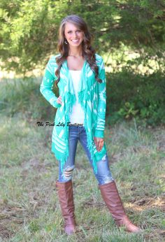 The Pink Lily Boutique - A Turning Point Fringe Cardigan Green, $42.00 (http://thepinklilyboutique.com/a-turning-point-fringe-cardigan-green/)