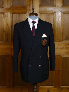 Vintage Savile Row Bespoke Navy Blue Worsted Blazer w/ MCC Badge