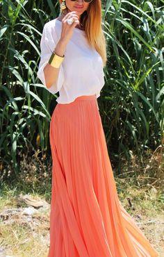 Pleated maxi skirts.