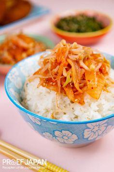 Recept: Rijst met kimchi en taugé | Proef Japan Kimchi, Bento, Mashed Potatoes, Grains, Rice, Ethnic Recipes, Food, Meal, Essen