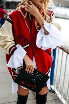 $100 - $200 Cool Blogger Fashion Summer Street Style Oversized Cream And Red Bomber Athletic Football Jacket White Ruffled Pleated Summer Blouse