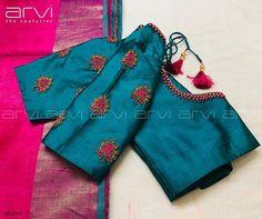 Embroidery for classy lovers Pattu Saree Blouse Designs, Blouse Designs Silk, Bridal Blouse Designs, Blouse Patterns, Salwar Designs, Lehenga Blouse, Kids Blouse Designs, Simple Blouse Designs, Stylish Blouse Design